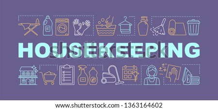 Housekeeping word concepts banner. Home maintenance. Household duties management. Cleaning, laundry service. Presentation, website. Isolated lettering typography idea with icons. Vector illustration Stockfoto ©