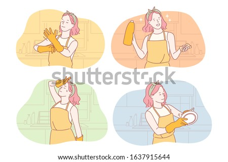 Housemaid or housekeeper set concept, Young woman housemaid does cleaning in kitchen. Girl housekeeper wiping plate thoroughly. Exhausted housewife wipes sweat out of forehead. Simple flat vector