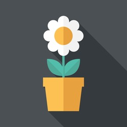 Houseplant icon. Flat design style modern vector illustration. Isolated on stylish color background. Flat long shadow icon. Elements in flat design.