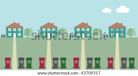 Houses along street with recycling wheelie bins