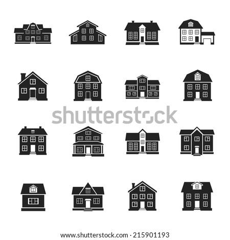 houses and buildings flat vector icons set