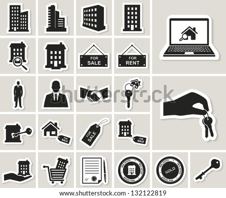houses and real estate vector icons set. paper stickers