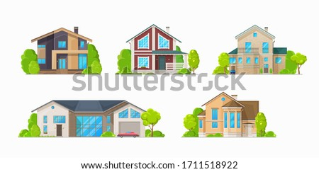 Houses and residential buildings, real estate vector icons. Family house and mansions, duplex apartments and townhouse villas, city private property and town architecture
