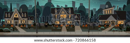 Houses Decorated For Halloween Home Buildings Front View With Different Pumpkins, Bats Holiday Celebration Concept Flat Vector Illustration