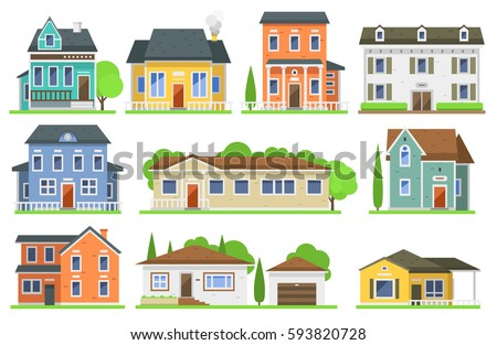 Shutterstock Houses exterior vector illustration front view with roof. Modern. Townhouse building apartment. Home facade with doors and windows.