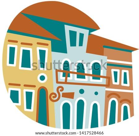 Houses facades in Ouro Preto, minas Gerais