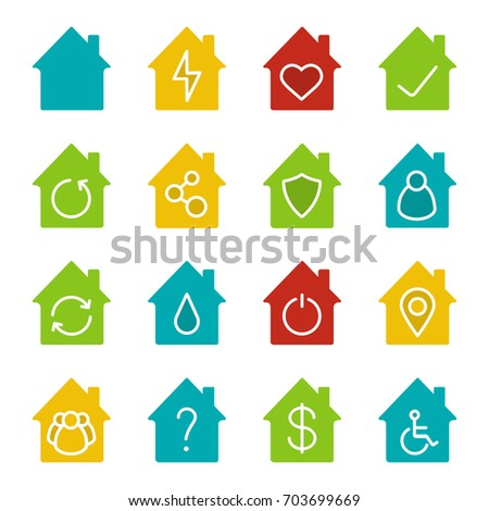 Houses glyph color icon set. Silhouette symbols on white backgrounds. Home buildings with man, heart, dollar sign, wheelchair, question and tick marks inside. Negative space. Vector illustrations