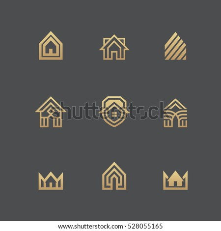 Houses icons and logo templates set in golden colors isolated on black background.
