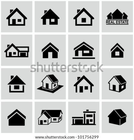 Shutterstock Houses icons set. Real estate.