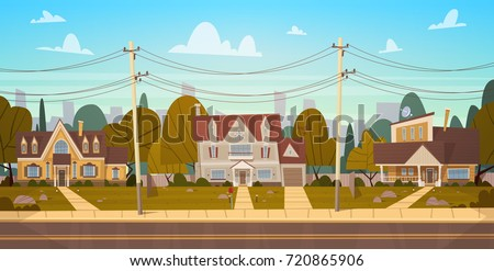 houses in suburb of big city in ...