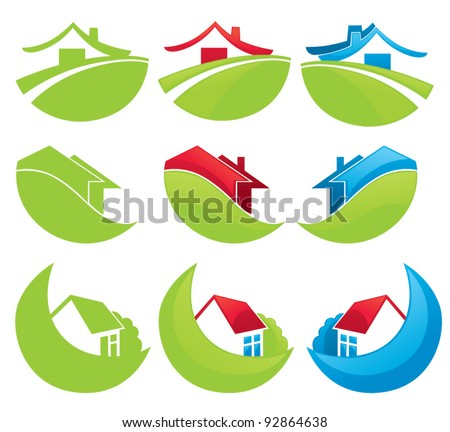 houses in the mountains, vector collection of property symbols