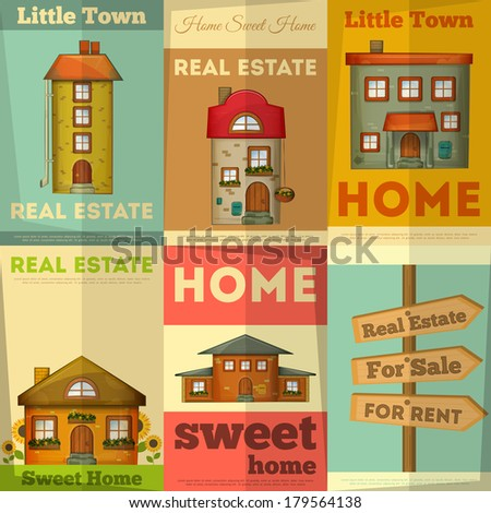 Houses on Real Estate Posters set Vector Illustration
