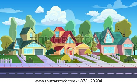 Houses on street of suburb town vector illustration. Cartoon urban townscape with comic exterior of cottage family houses, village asphalt road and sidewalk, streetscape neighbourhood background ストックフォト ©