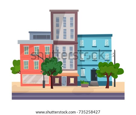 houses on street with road in