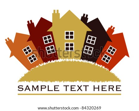 Houses or real estate on a grass hill vector design. - stock vector