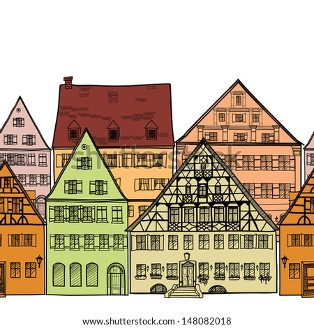 Houses seamless border.  Old town cityscape. Ancient building frame. Doodled city. Hand drawn vector illustration.