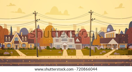 houses suburb of big city in