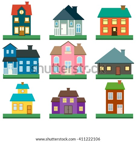 houses vector icons set