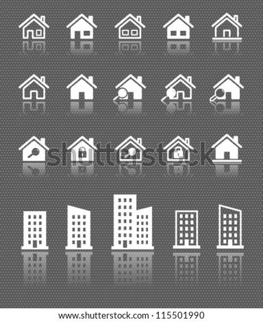 houses web icons set with reflection on dark background
