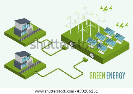 Houses with alternative Eco Green Energy, flat 3d web isometric infographic concept. Wind Turbines and Solar Panels set. Vector illustration