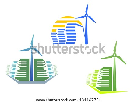 Houses with wind turbines for modern ecological design or logo template. Jpeg (bitmap) version also available in gallery