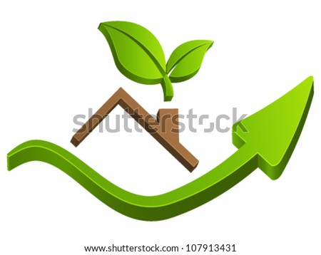 housetop, real estate sign - vector illustration