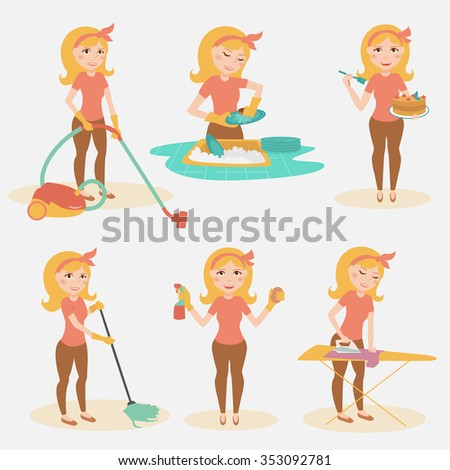 housewife cleaning lady