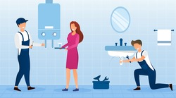 Housewife with emergency plumbing service as two plumbers fix a bathroom sink and geyser, colored vector illustration