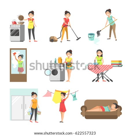 Housewives at work washing, cleaning, cooking vector flat icons
