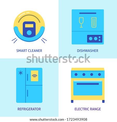 Housework automation icon set in flat style. Smart vacuum cleaner, electric range, dishwasher and refrigerator symbols. Vector illustration.