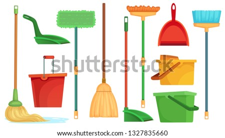 Housework broom and mop. Sweeper brooms, home cleaning mops and cleanup broom with dustpan. Broom, kitchen and bathroom hygiene or housework equipment. Isolated cartoon vector illustration symbols set Stock foto ©