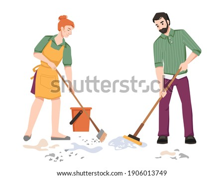 Housework, couple sweeping, cleaning in room, woman sweeps and man mops the floor isolated. Vector husband and wife doing housework household chores together, cleaning room in apartment Stock photo ©