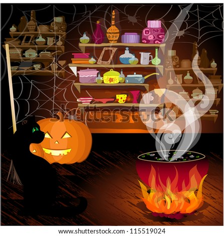 Housing little witch - stock vector