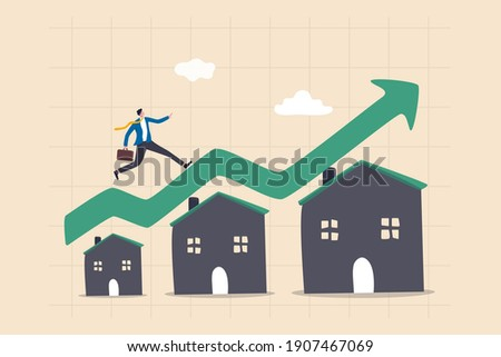 Housing price rising up, real estate or property growth concept, businessman running on rising green graph on house roof.