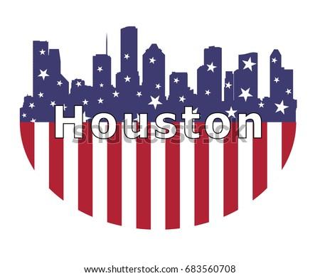 houston city and usa flag