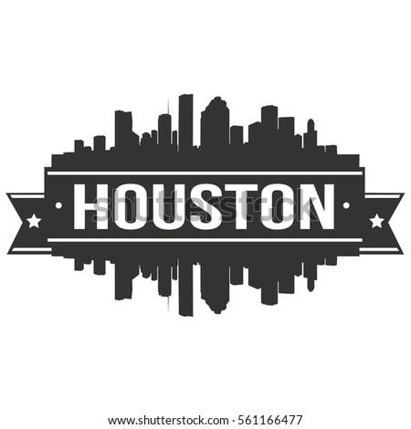Houston Skyline Stamp Silhouette Stamp