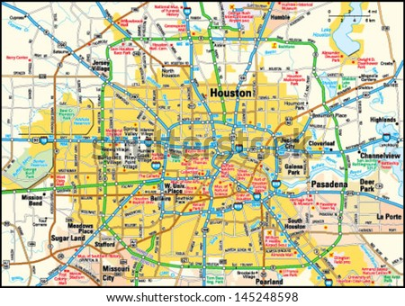 Houston, Texas area map