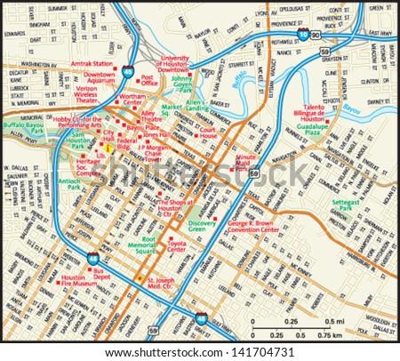 Houston, Texas downtown map