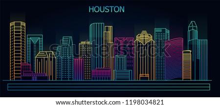 Houston, Texas, USA downtown city skyline at night. Vector illustration