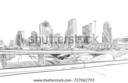 Houston. Texas. USA. Hand drawn.Unusual Street sketch, vector illustration