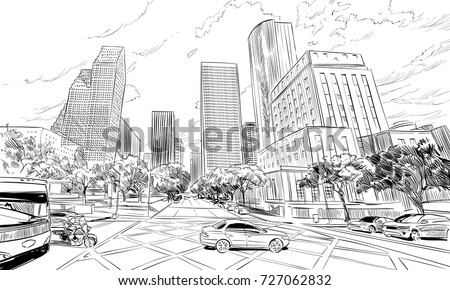Houston. Texas. USA. Hand drawn.Unusual Street sketch, vector illustration