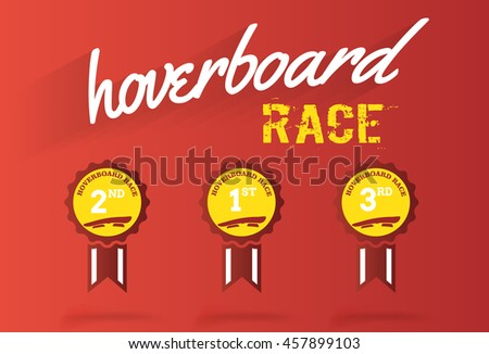 hoverboard race  medal vector