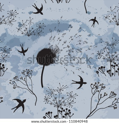 Hovering swallows , dry flowers  and cloudy sky in sketch seamless composition