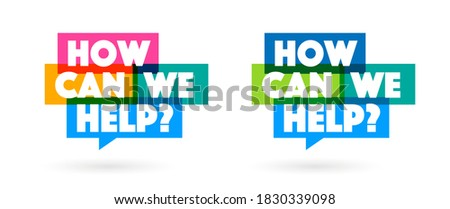 How can we help on speech bubble Stock foto ©