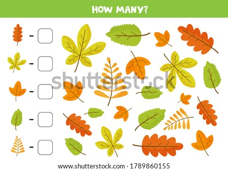 How many autumn leaves are there. Math game for kids. Printable worksheet for preschoolers. Set of colorful autumn elements. Foto d'archivio ©