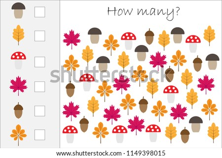 How many counting game with autumn pictures for kids, educational maths task for the development of logical thinking, preschool worksheet activity, count and write the result, vector illustration