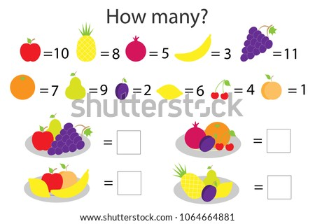 How many counting game with different fruit for kids, educational maths task for the development of logical thinking, preschool worksheet activity, count  and write the result, vector illustration