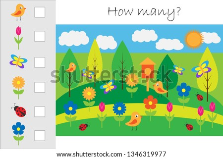 How many counting game with spring picture for kids, educational maths task for the development of logical thinking, preschool worksheet activity, count and write the result, vector illustration