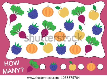 How many fruits, berries and vegetables (apple, blackberry, beet, pumpkin). Learning numbers, mathematics. Counting game for preschool children.
