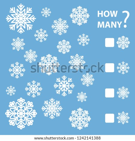 How many is educational game for preschool children. Maths task for the development of logical thinking of children. Count as many snowflakes and write down the result. Vector illustrat